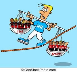HR guy balancing staff levels