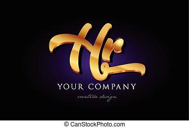 hr  h r 3d gold golden alphabet letter metal logo icon design handwritten typography