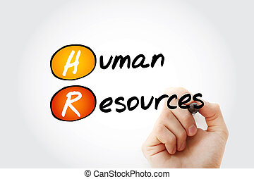 HR - Human Resources acronym with marker