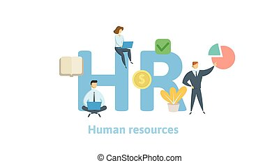 HR, Human resources. Concept with keywords, letters and icons. Flat vector illustration on white background. Isolated
