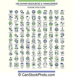 Business management and human resources big icons set. Modern icons on theme business people, analysis, organization, conference and office working. Flat line design icons collection