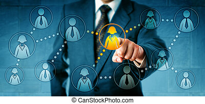 Human resources manager selecting one female white collar worker icon among many employee symbols. Concept for professional social networking, employee work relations and headhunting in recruitment.