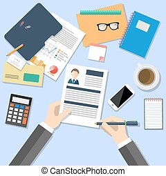 Business concept for human resources manager with top view of human hands holding CV, analysing personnel resume, desk with smartphone, documents, stationery, calculator