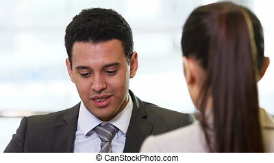 HR meeting - Handsome hr worker having a meeting with a...