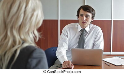 HR meeting - Handsome hr professional having a meeting with...