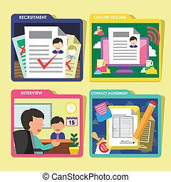 HR recruitment process icons set in flat design