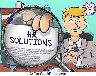 HR Solutions through Lens. Doodle Concept.