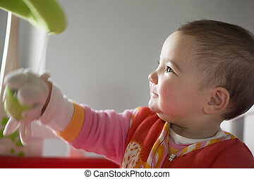 hračka, ji, proměnlivý, hraní, holčička, hudební