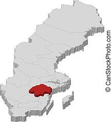 hrabstwo, mapa, highlighted, oestergoetland, szwecja