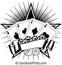 hrací karty, kostky, pomfrity