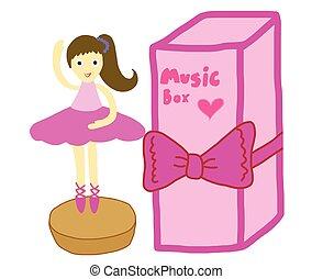 hrací skříň, s, tančení, balerína