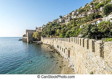 hradby, názor, pevnost, alanya, turecko, starobylý