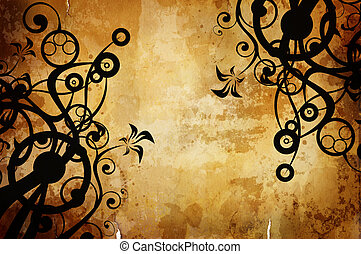 hraničit, grafické pozadí, ponurý, srdečný, vinobraní
