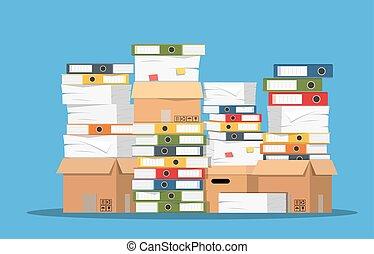 hranice, o, noviny, dokumentovat, a, pořadač, folders.