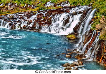 hraunfossar, 瀑布, 在中, hdr, 冰岛