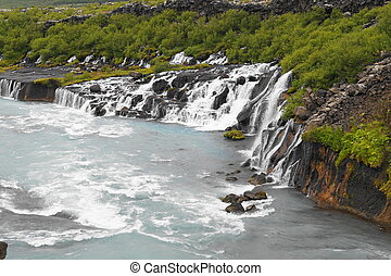Hraunfossar, waterfall in Iceland