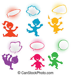 hravý, silhouettes, děti