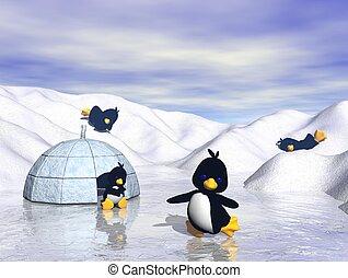 hravý, tučnák, sněžit, karikatura
