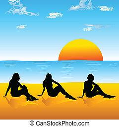 hree girl silhouette on the beach