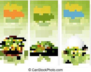 hree, påsk, försäljning, banners., färgrik, ägg, och, vår blommar, in, grön, grass., vector.