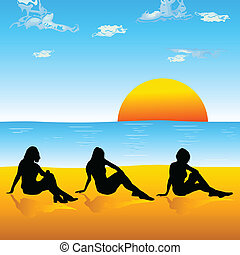 hree, plage, girl, silhouette