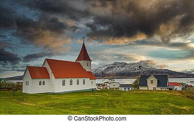 Hrisey Church. Village of Hrisey island in Iceland