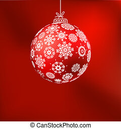 ?hristmas background with red ball. EPS 8