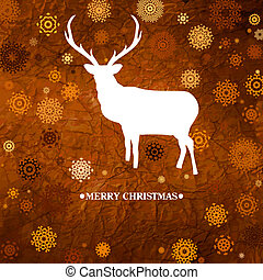 ?hristmas card with reindeer and snowflakes. EPS 8