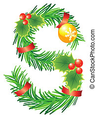 Letter with decoration for ?hristmas design