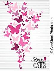 hruď rak povědomí čeho, motýl, lem, plakát