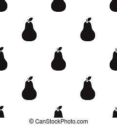 hruška, ikona, black., singe, ovoce, icon.