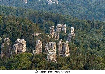 hruba, skala, 岩, 町