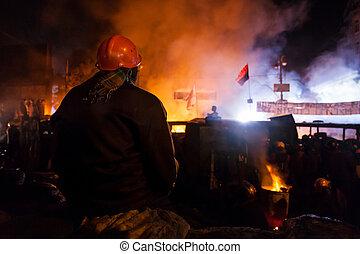 hrushevskoho,  protests,  Kiev,  Kiev, resistência, tropas,  ST,  ukrainian,  -, Tempestade,  capital,  anti-government, guerreira, Governo,  2014:,  24, Preparar, Ucrânia, centro, janeiro, massa,  popular