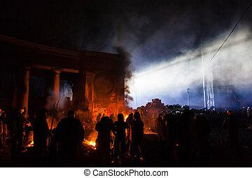 hrushevskoho, protests, kiev, kiev, Motstånd, troops, ST,...