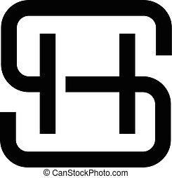 hs, sh, logo, lettre, logo