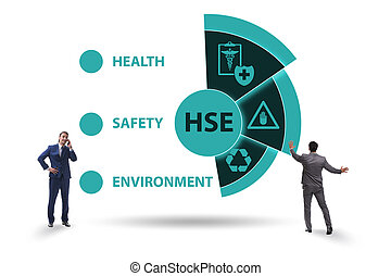 HSE concept for health safety environment with businessman