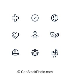 HSE concept, occupational safety and health administration, production factory and environment, medical insurance, worker protection, vector line icon set