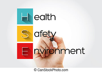 HSE - Health Safety Environment acronym with marker, concept...
