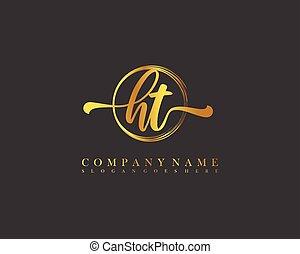 ht, mall, logo, cirkel, vektor, initial, handstil, hand, ...
