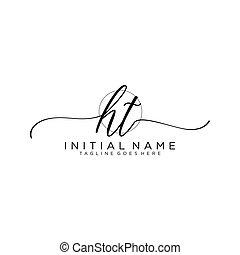 ht, mall, vektor, initial, logo, handstil, cirkel
