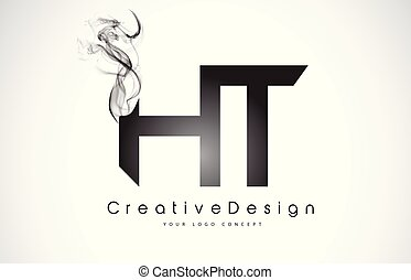 ht, smoke., svart, brev, logo, design