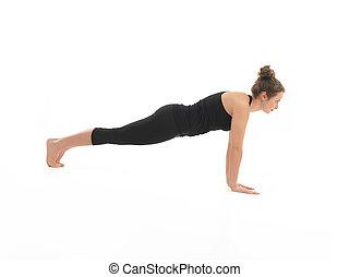 htha, yoga, demostración, postura