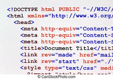 html, 網頁, 代碼, 正面圖