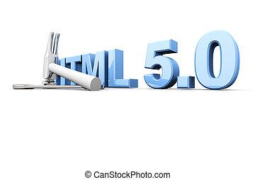 HTML 5.0 Tools - HTML 5.0 tools. 3D rendered Illustration....