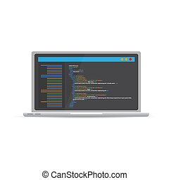 HTML code website. Laptop coding, programming  concept. Vector illustration.