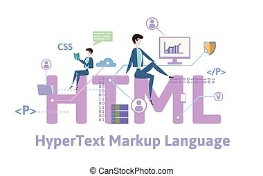 HTML, hypertext markup language. Concept table with keywords, letters and icons. Colored flat vector illustration on white background.