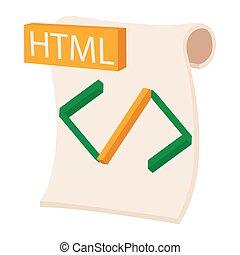 HTML icon, cartoon style