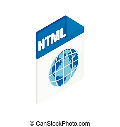 HTML icon, isometric 3d style