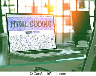 html, kodierung, begriff, auf, laptop, screen.