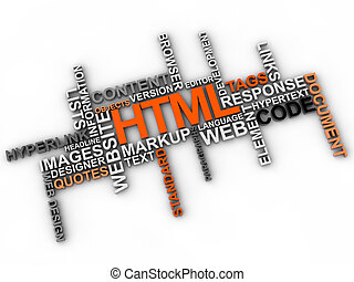 html, palavra, nuvem, sobre, fundo branco